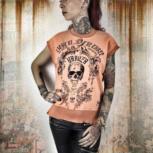 Yakuza Skull Sweat Top GSB-9111 papaya punch