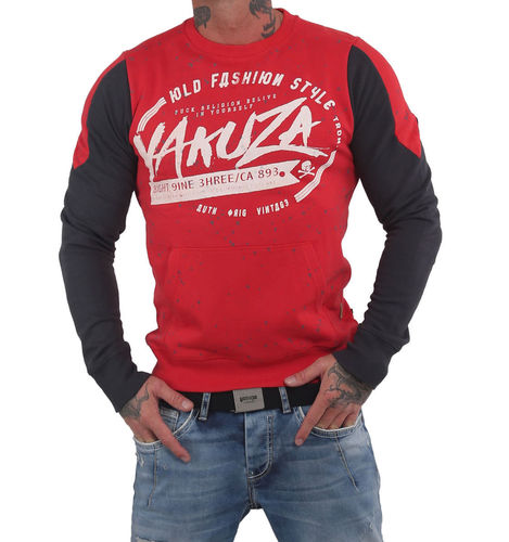 Yakuza Old Fashion Two Face Pouch Pullover PB-14015 rot