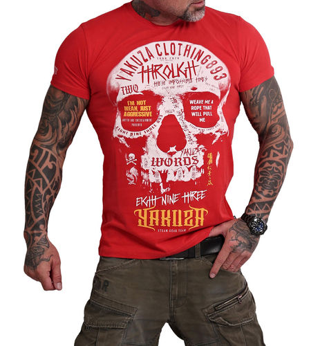 Yakuza Through Skull T-Shirt TSB-16018 ribbon red