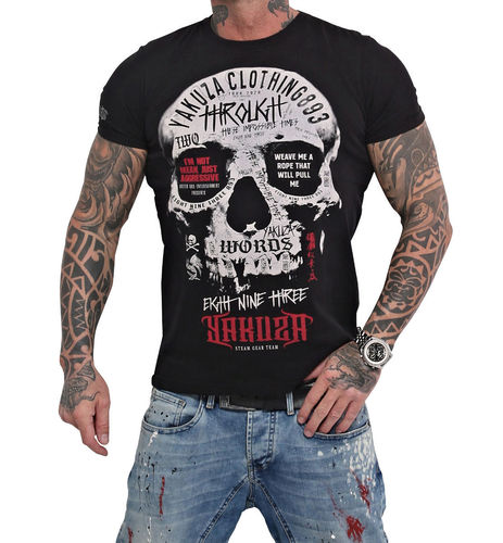 Yakuza Through Skull T-Shirt TSB-16018 black
