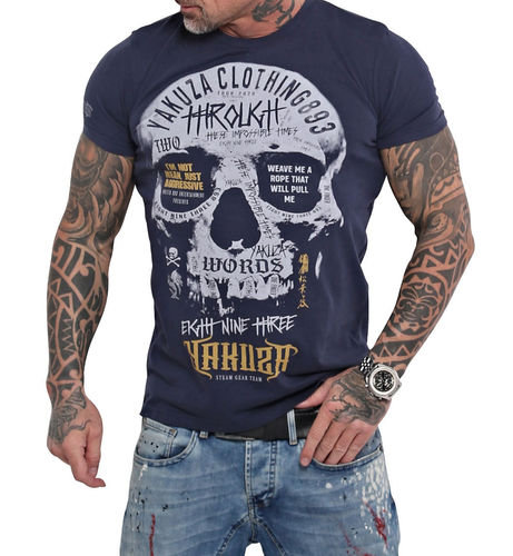 Yakuza Through Skull T-Shirt TSB-16018 mood indigo