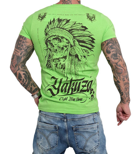 Yakuza Indian Skull T-Shirt TSB-16027 jasmine green