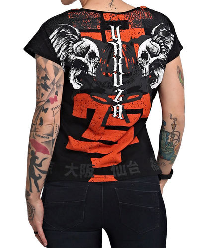 Yakuza Sick Nippon V-Neck T-Shirt  GSB-16126 black