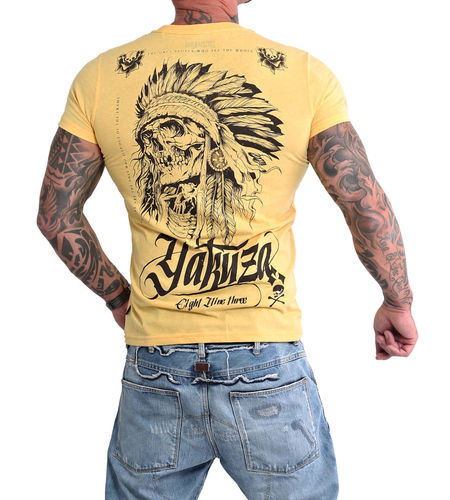 Yakuza Indian Skull T-Shirt TSB-16027 banana cream melange