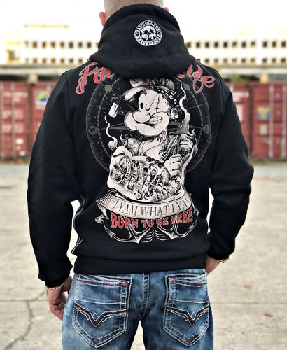 "Fact of Life Hoodie ""Born to Be Free"" SH-05 black"